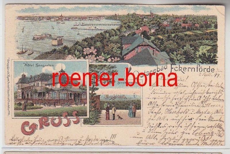 75029 Mehrbild Ak Gruss aus Ostseebad Eckernförde Hotel Seegarten 1899