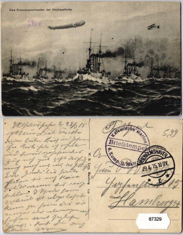 87329 Militär AK Das Kreuzergeschwader der Hochseeflotte kaiserliche Marine 1915