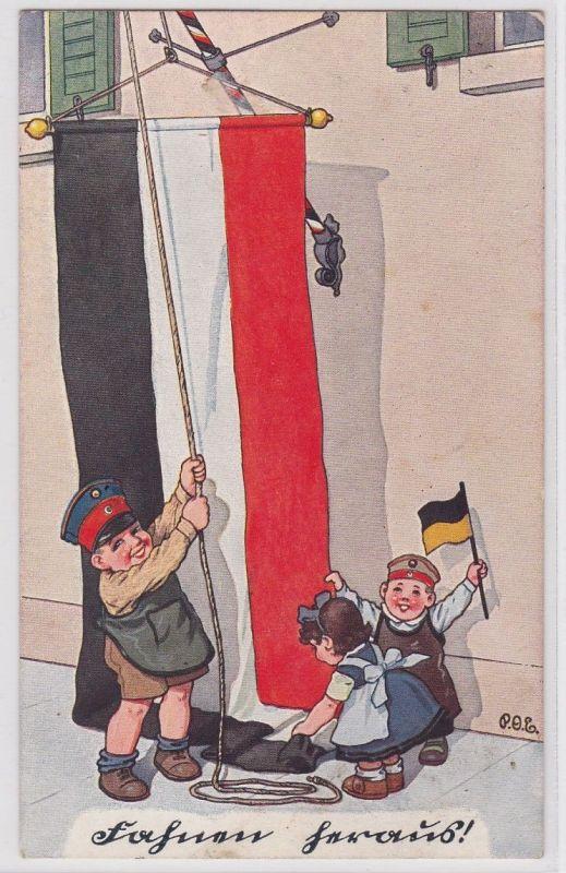 87242 Patriotika AK Fahnen heraus! - Kinder in Uniform hissen Reichsfahne 1917