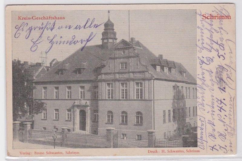 82706 AK Schrimm - Kreis-Geschäftshaus, Frontansicht 1915