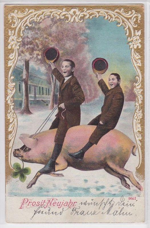 71666 Glückwunsch AK Prosit Neujahr - Zwei Männer reiten Glücksschwein 1904