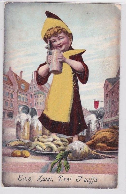 89236 AK Eins, Zwei, Drei G' suffa, Münchner Kindl steht auf Tisch mit Maas 1908