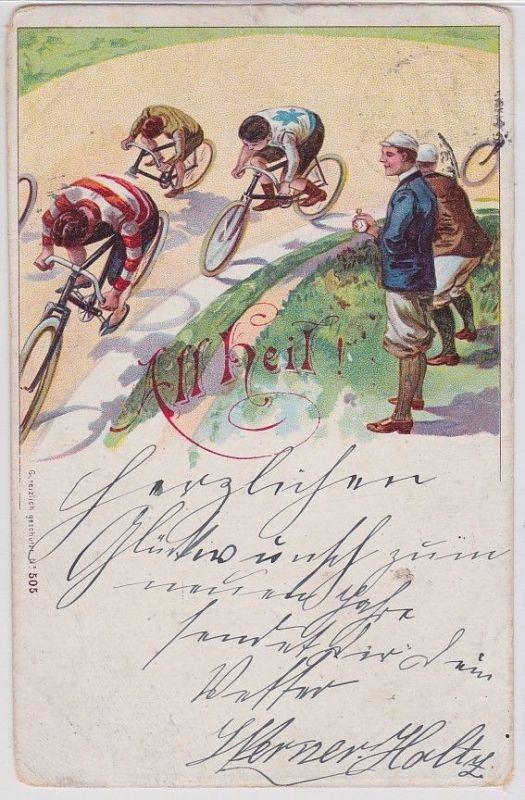 41080 Künstler AK All Heil! Radrennen, Mann mit Stoppuhr am Rand 1899