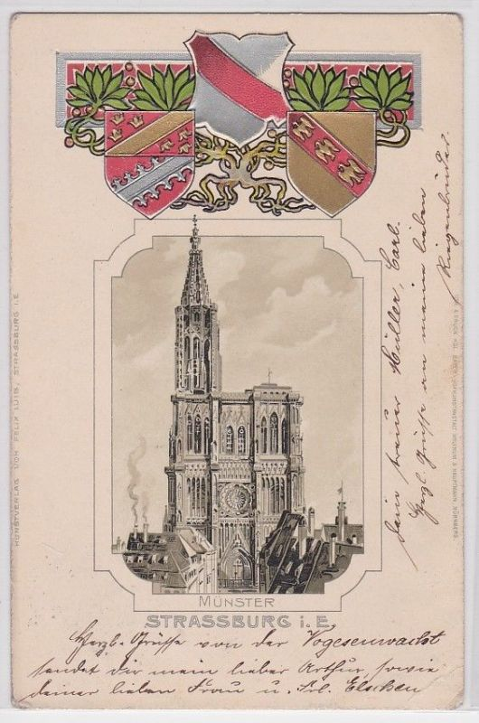 41710 Passepartout AK Strassburg im Elsass Münster - Wappen mit Ornamenten 1905