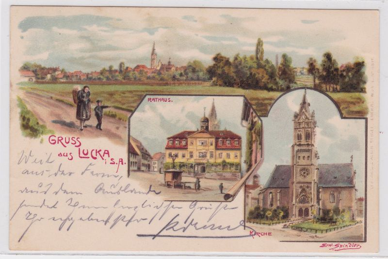 73157 Ak Lithographie Gruß aus Lucka S.-A. Rathaus, Kirche usw. 1903