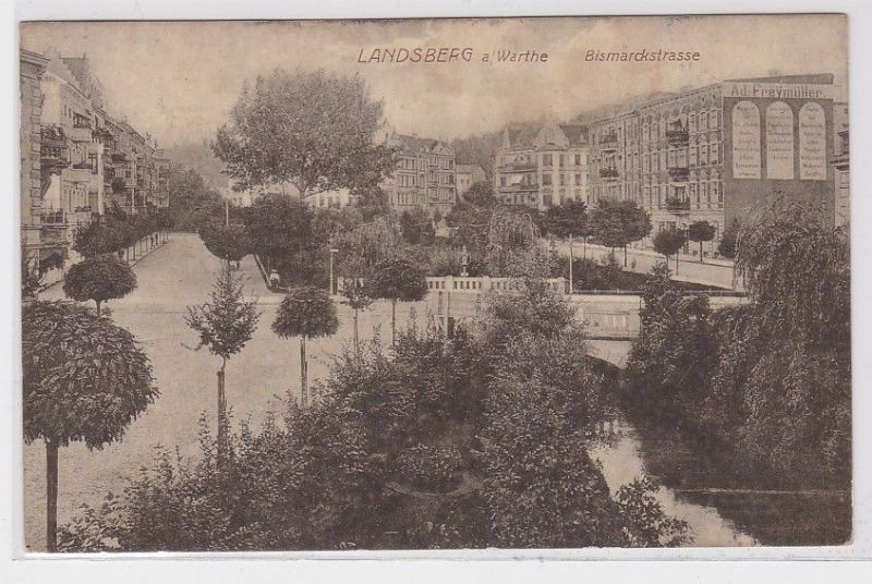 88549 Feldpost Ak Landsberg a.W. Gorzów Wielkopolski Bismarckstrasse 1915