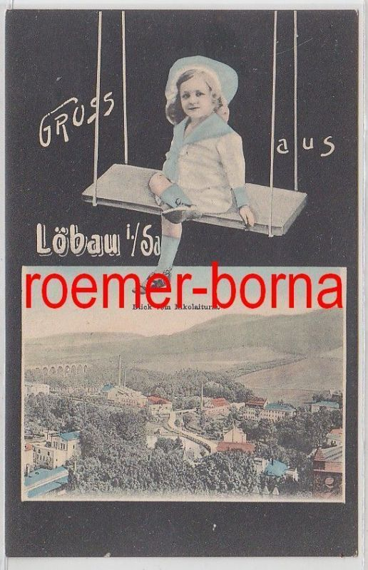 74644 Kinderschauckel Ak Löbau in Sachsen Blick vom Nikolaiturm 1910