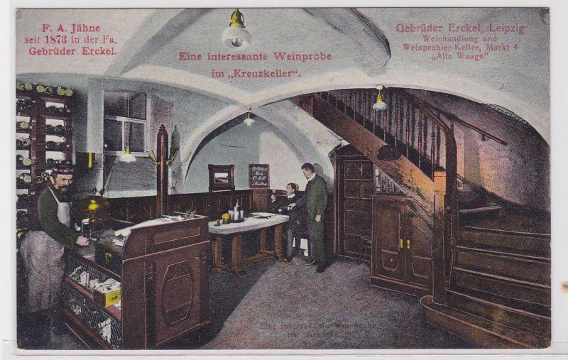 88491 Reklame AK Gebrüder Erckel Weinstube im Kreuzkeller Leipzig Markt um 1920