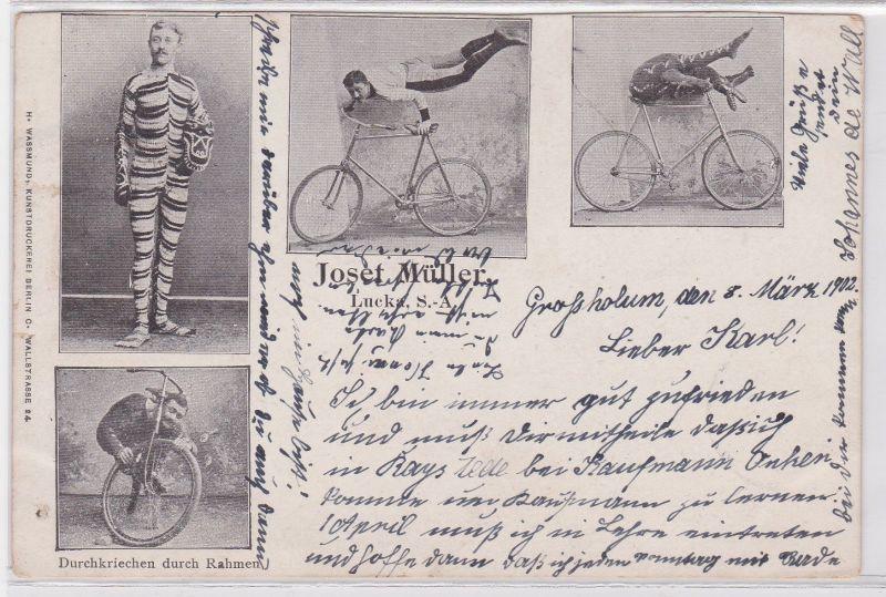 68138 Ak Lucka Sachsen Altenburg Kunstradfahrer Josef Müller 1902