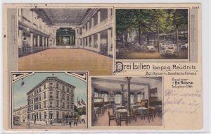 85859 Mehrbild Ak Leipzig Reudnitz Ballhaus Drei Lilien 1915