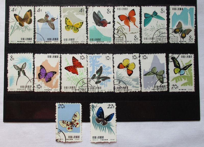 VR China 1963 Schmetterlinge 16 Werte aus 2. Ausgabe - gestempelt  (104943)