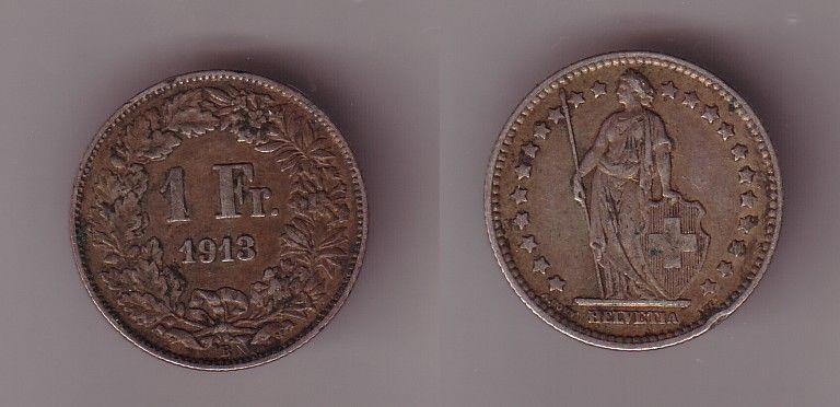 1 Franc Silber Münze Schweiz 1913 (115777)