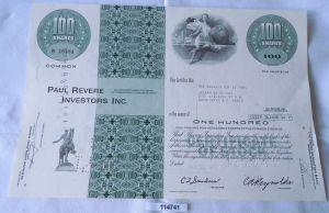 100 Dollar Aktie USA Paul Revere Investors Inc. Massachusetts 12.10.1971