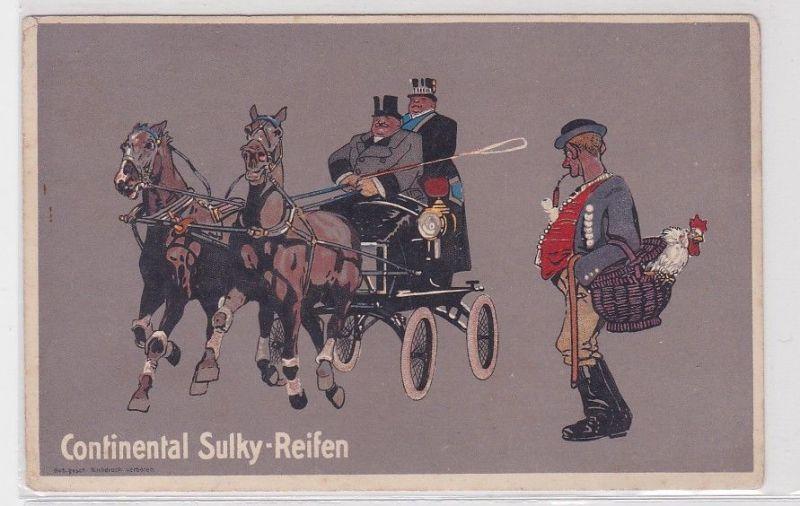91437 Reklame Humor Ak Continental Sulky Reifen Pferdekutsche um 1914