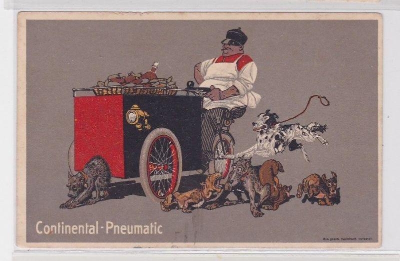 91570 Reklame Humor Ak Continental Pneumatic Imbisswagen um 1914