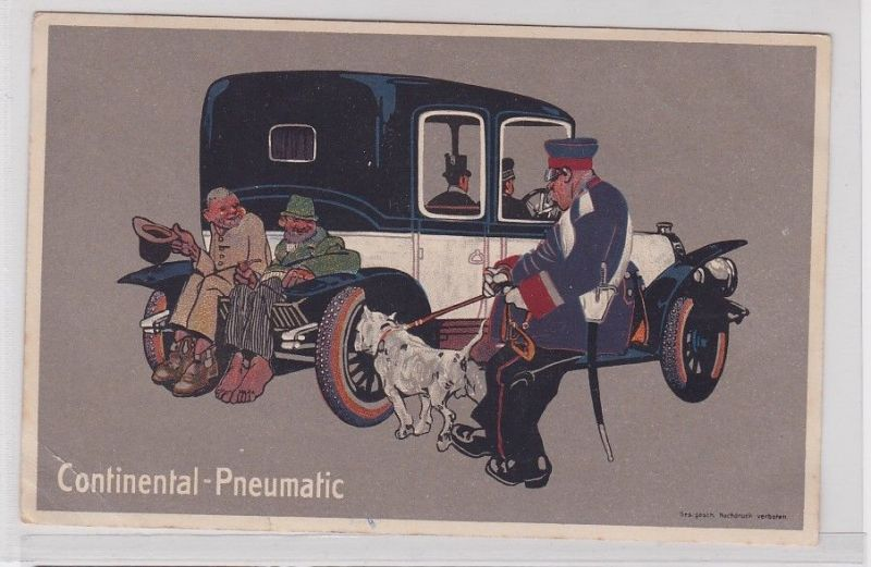 91571 Reklame Humor Ak Continental Pneumatic elegantes Automobil um 1914