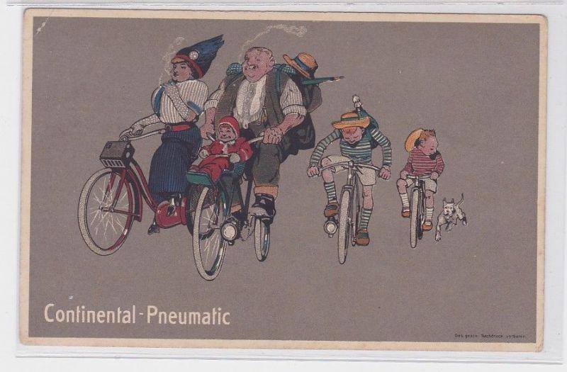 91572 Reklame Humor Ak Continental Pneumatic Familienausflug per Rad um 1914