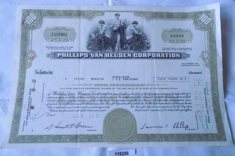 100 Dollar Aktie USA Phillips van Heusen Corporation New York 22.06.1971
