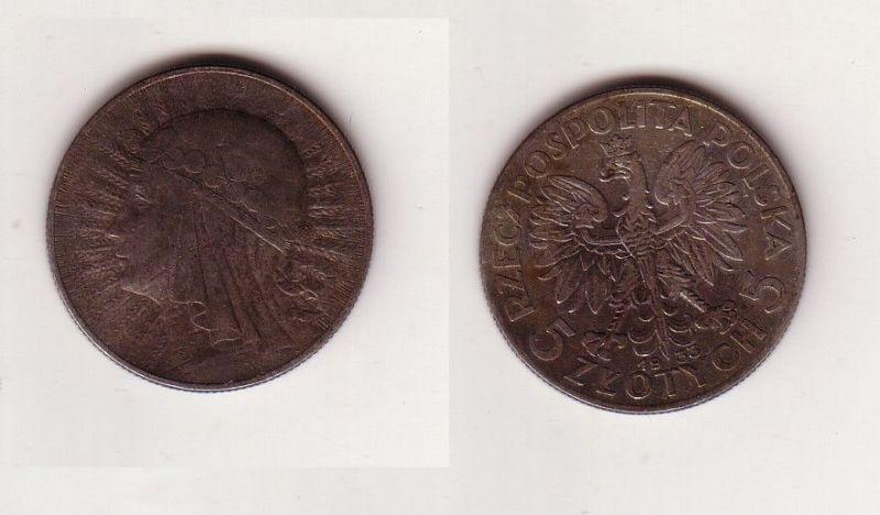 5 Zloty Silber Münze Polen Mädchenkopf 1933 (115595)