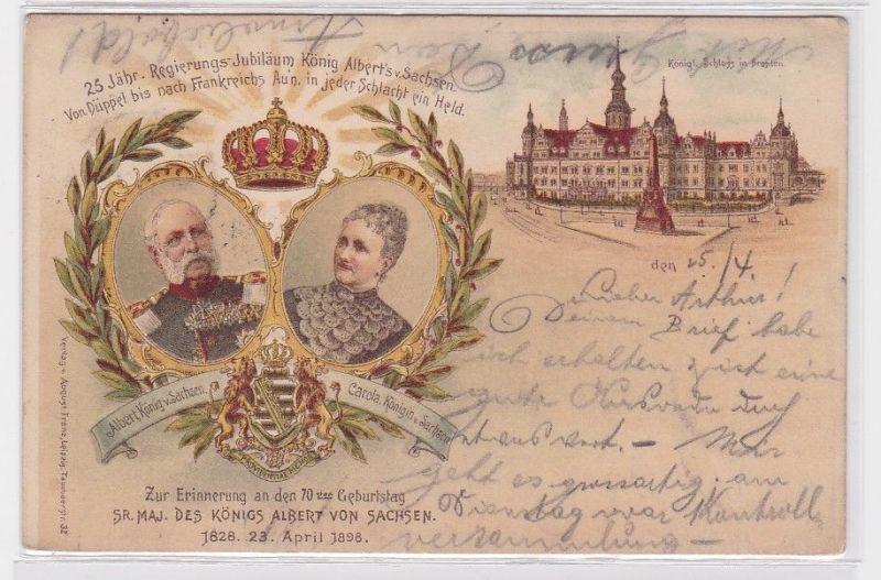 90898 AK Erinnerung an den 70. Geburtstag König Albert von Sachsen 23.April 1898