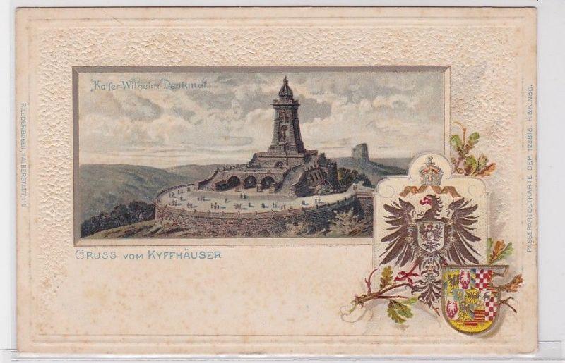 90650 Passepartout AK Gruss vom Kyffhäuser - Kaiser Wilhelm Denkmal um 1900