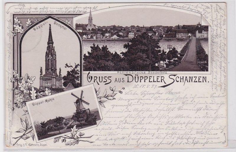 20108 AK Gruss aus Düppeler Schanzen - Denkmal, Mühle & Pontonbrücke 1899