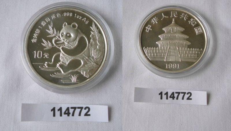 10 Yuan Silber Münze China Panda 1 Unze Feinsilber 1991 Stgl. (114772)