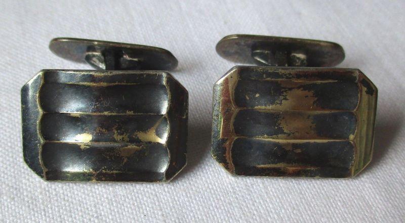 Exklusive 835er Silber Manschettenknöpfe Wellenrelief Muster (104005)