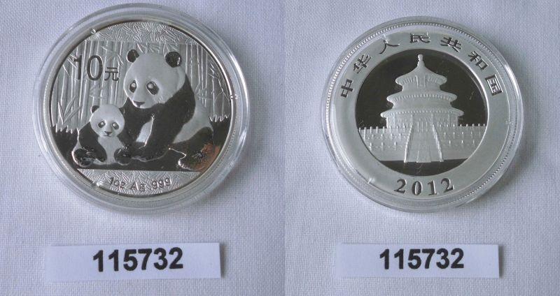 10 Yuan Silber Münze China Panda 1 Unze Feinsilber 2012 Stgl. (115732)