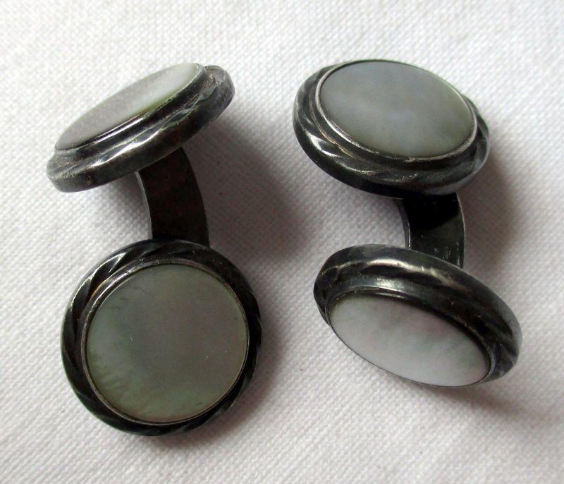 Elegante 835er Silber Manschettenknöpfe mit Perlmutt (107176)