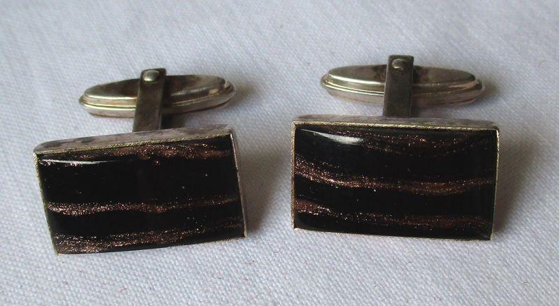 Stilvolle 835er Silber Manschettenknöpfe mit schwarzem Stein besetzt (109758)