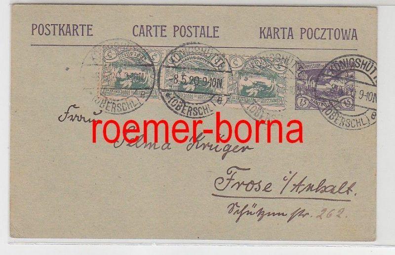18052 Ganzsachen Postkarte Königshütte Oberschlesien 1920