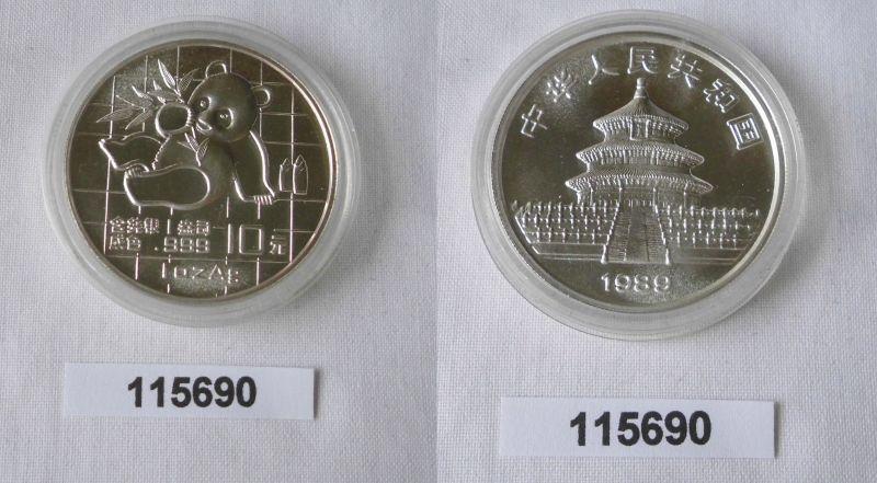 10 Yuan Silber Münze China Panda 1 Unze Feinsilber 1989 Stgl. (115690)