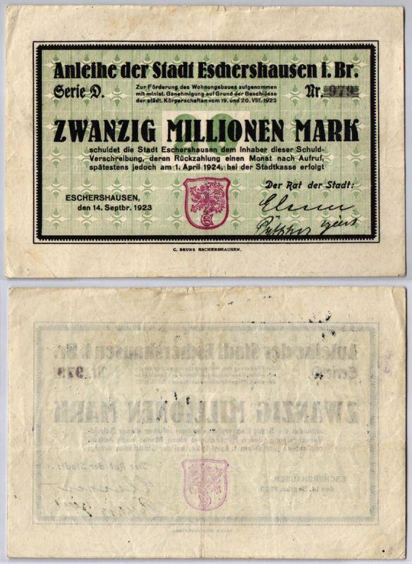 20 Millionen Mark Banknote Inflation Stadt Eschershausen 14.09.1923 (123329)