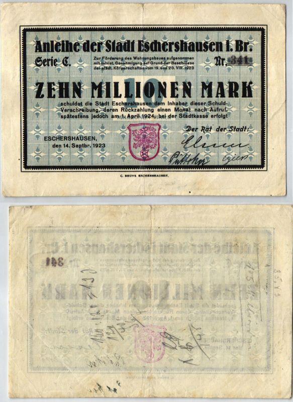10 Millionen Mark Banknote Inflation Stadt Eschershausen 14.09.1923 (120616)