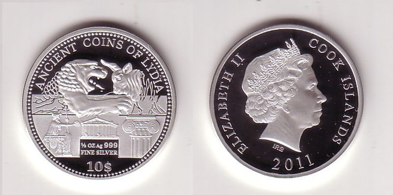 10 Dollar Silber Münze Cook Inseln 2011 Ancient Coins Of Lydia