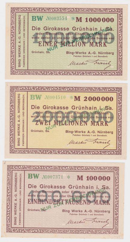 0,1, 1 & 2 Millionen Mark Banknoten Girokasse Grünhain Bing Werke 1923 (121545) 0