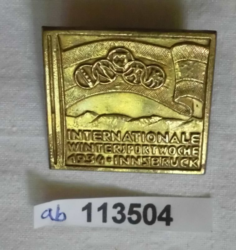 Seltenes Blech Abzeichen Internationale Wintersportwoche Innsbruck 1934 (113504)
