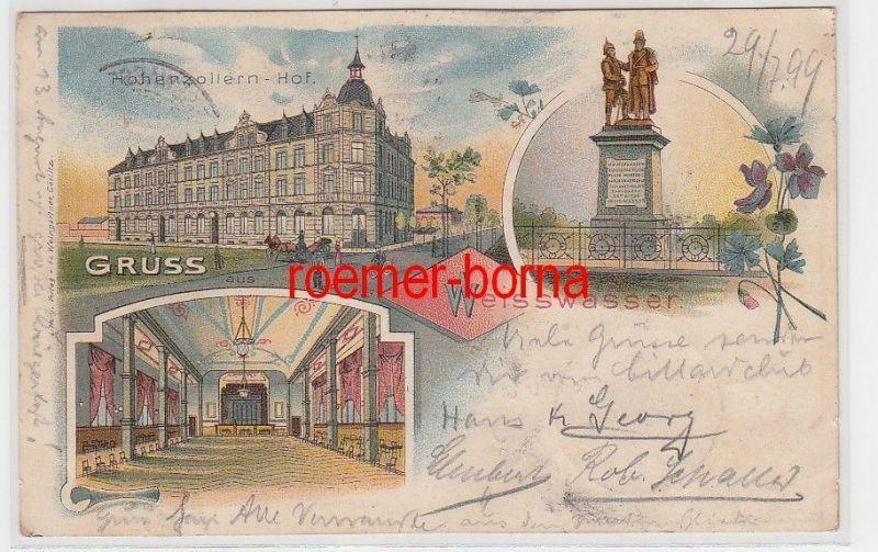 72455 Ak Lithografie Gruss aus Weisswasser Hohenzollern-Hof 1899