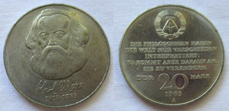 DDR Gedenk Münze 20 Mark Karl Marx 1983 (119199)