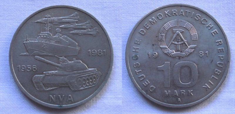 DDR Gedenk Münze 10 Mark 25 Jahre Nationale Volksarmee NVA 1981 (116363)