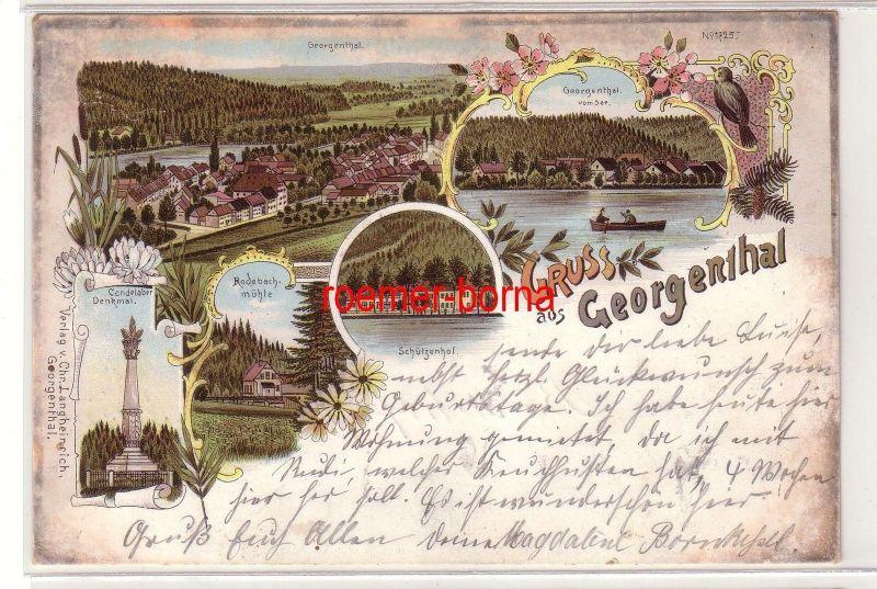 79897 Ak Lithografie Gruss aus Georgenthal Schützenhof usw. 1901