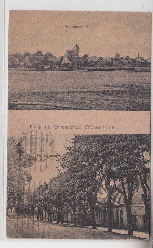 71219 Mehrbild Ak Gruß aus Sommerfeld Osthavelland Totalansicht + Dorfstr. 1919