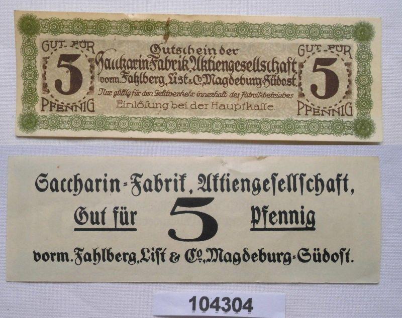 5 Pfennig Banknote Notgeld Sacharin Fabrik Magdeburg vorm.Fahlberg List (104304)