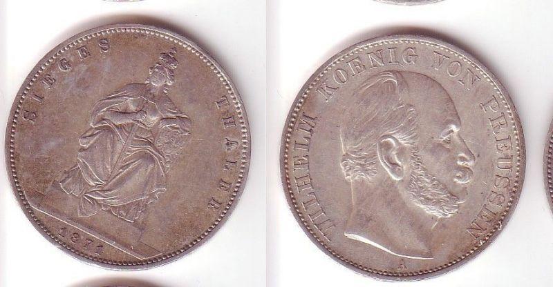 Schöne Silber Münze 1 Siegestaler Preussen 1871 F Vz 105153 Nr