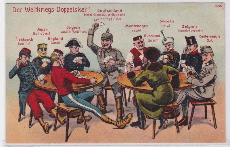 83654 Feldpost AK Der Weltkriegs Doppelskat! Deutschland zwischen 2 Tischen 1914