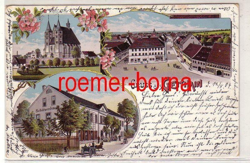 77411 Ak Lithografie Gruss aus Geithain Schützenhaus, Nikolaikirche usw. 1904