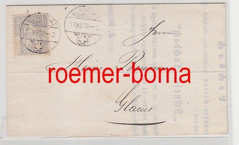 75976 Alter Brief Schweiz 2 Rappen Von Burgdorf Nach Glarus 1870 Nr