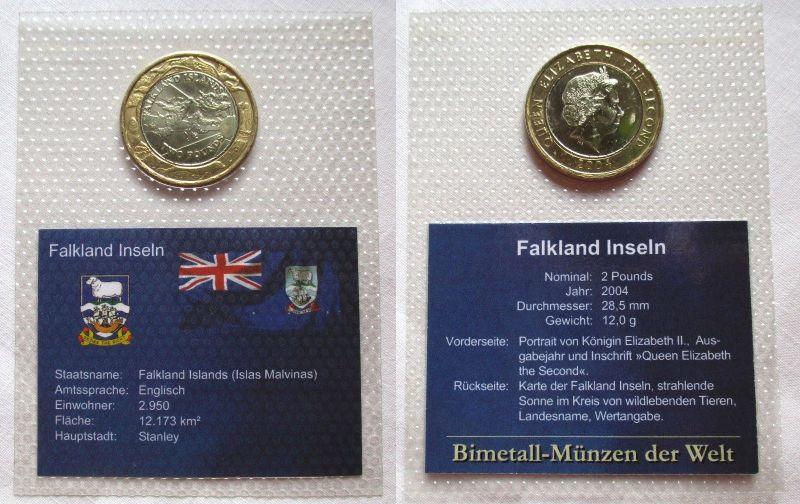 Bi Metall Münze 2 Pfund Falkland Inseln 2004 Top Erhaltung Im