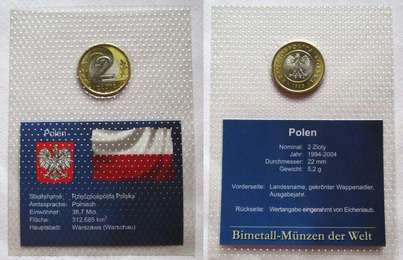 Bi-Metall Münze 2 Zloty Polen 1995 in TOP Erhaltung im Blister (124746)
